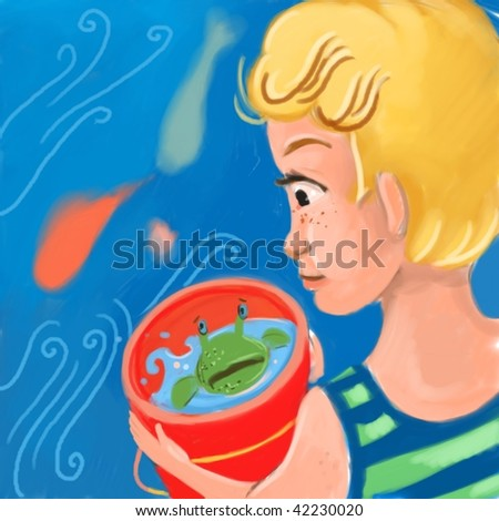 child collects sea wildlife (search the word nikos for more) - stock photo
