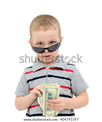 Child counts the money on a white background - stock photo