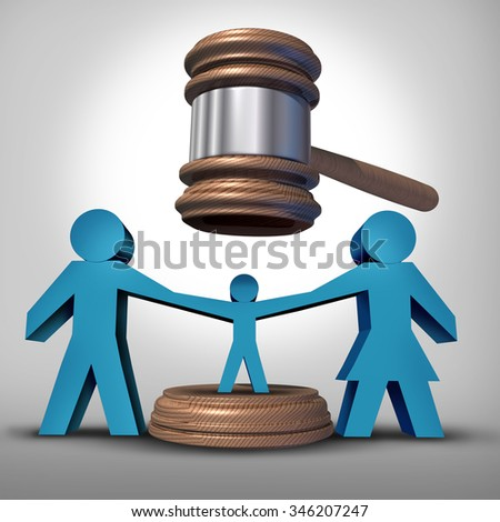 Child custody battle as a family law concept during a legal separation or divorce dispute as a father mother icon holding a child victim with a judge gavel or mallet coming down for parenting rights. - stock photo