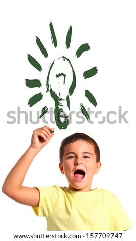 child drawing a lightbulb - stock photo