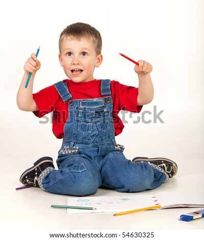 Child drawing and shouting on white background - stock photo