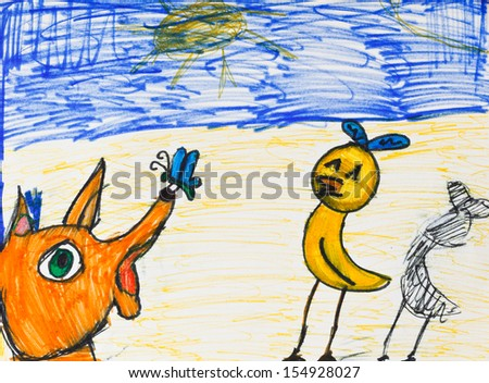 child drawing - fox, chicken and butterfly outdoors - stock photo