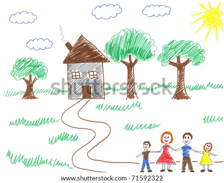 Child drawing of happy family walking to their house - drawn by myself - stock photo