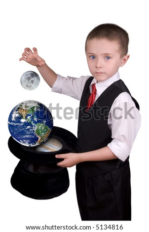 child dressed as a magician with hat with the moon,earth and saturn isolated over a white background - stock photo