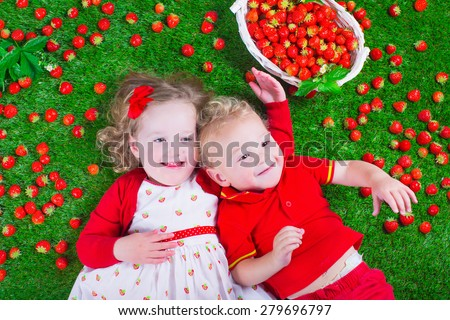 Child eating strawberry. Little girl and baby boy play and eat fresh ripe strawberries. Kids with fruit relaxing on a lawn. Children summer fun on a farm picking berry. - stock photo