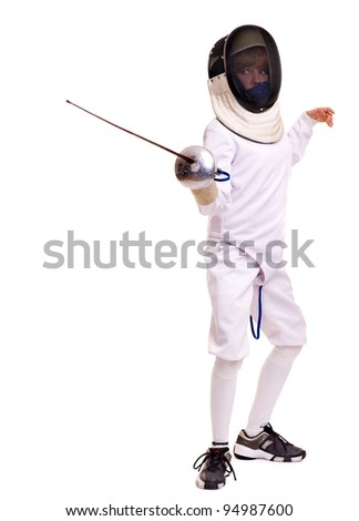 Child epee fencing lunge. Isolated. - stock photo