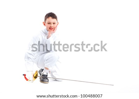 Child epee fencing lunge. Isolated on white background. - stock photo