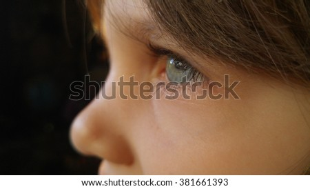 Child eye macro closeup, shallow DOF. - stock photo