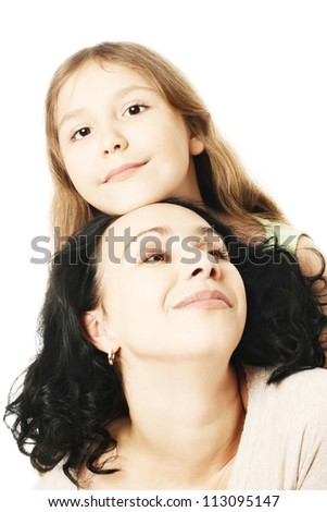 Child girl and mother playing. Portrait of woman with daughter - stock photo
