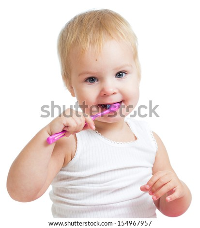 child girl brushing teeth isolated on white - stock photo