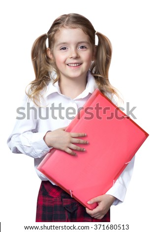 Child girl caucasian hold note folder.Pupil primary elementary school education concept isolated. - stock photo