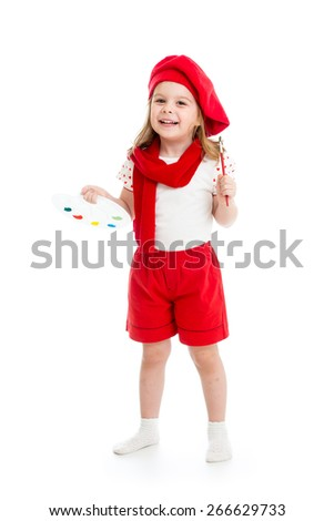 child girl in artist costume with paintbrush isolated - stock photo