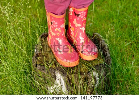 Child girl legs in pink galoshes standing on old tree stump with green grass around - stock photo