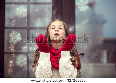 Child girl waiting for Christmas day - stock photo