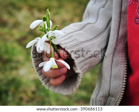 Child giving spring flowers for pleasure. - stock photo