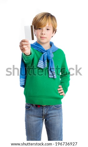 Child giving the option to pay by credit card - stock photo