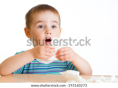 Child going to wipe with tissue - stock photo