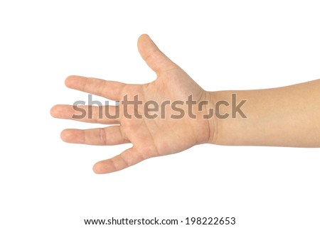 child hand bottom view - stock photo