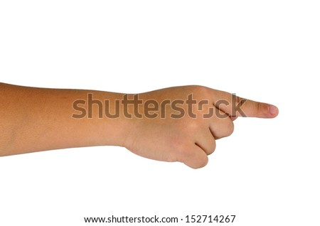 child hand holding isolated on white - stock photo