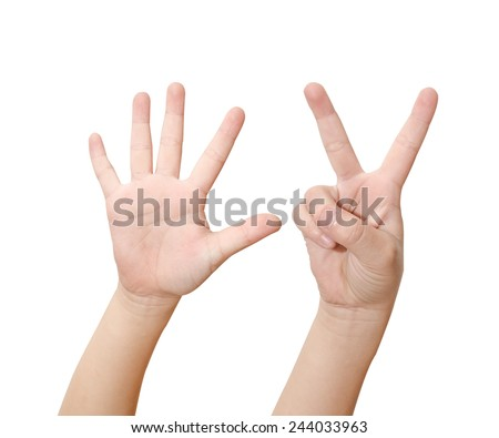 Child hand is showing seven fingers isolated on white background - stock photo