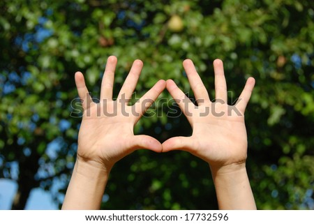 Child hand making triangle from fingers - stock photo