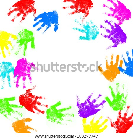 child hand prints - stock photo
