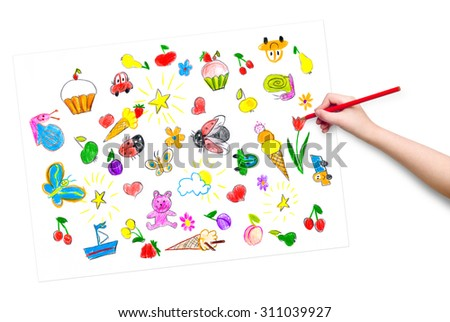 child hand with pencil drawing picture - stock photo