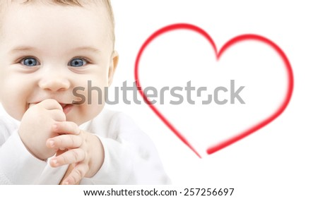 child, happiness and people concept - adorable baby - stock photo
