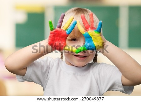 Child. Happy child with painted hands - stock photo