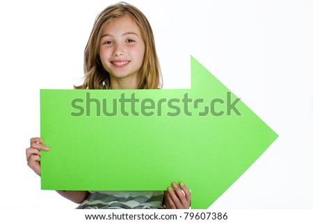 child holding a blank sign for an advertisement. - stock photo