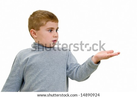 Child holding out hand for your copy - stock photo