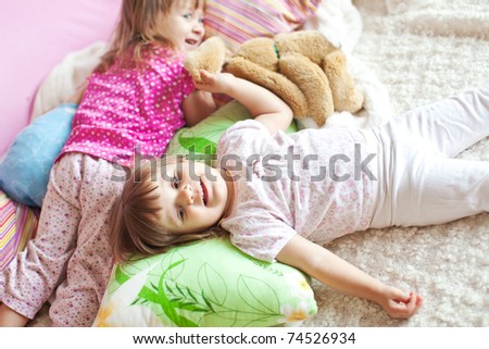 Child in bed - stock photo