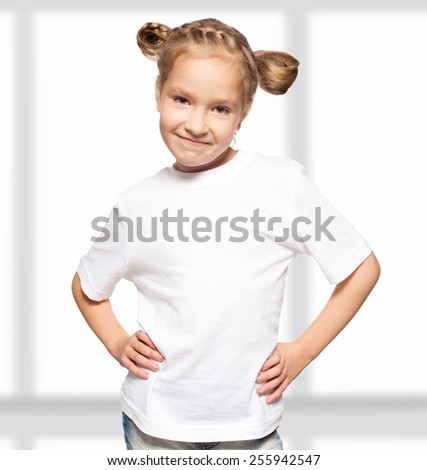 Child in white t-shirt. Girl isolated on white - stock photo
