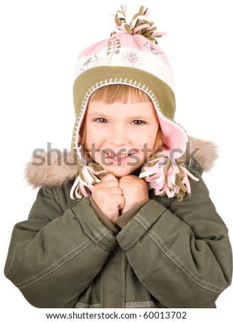 Child in winter clothes isolated on white - stock photo