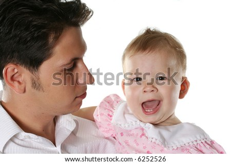 child isolated happiness father cheerful parent baby - stock photo