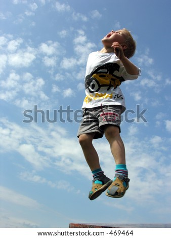 child jump - stock photo