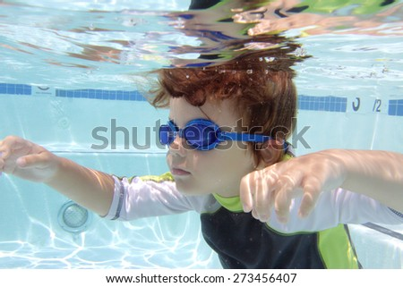 Child, kid, swimming in pool underwater, summer or sports theme - stock photo