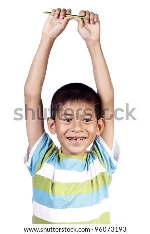 Child laughing on white background - stock photo