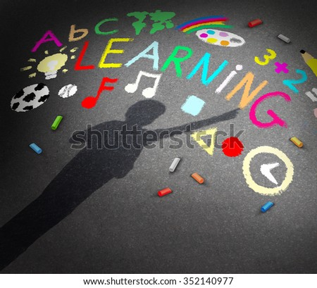 Child learning concept as the shadow of a young student on a schoolyard asphalt with chalk drawings of music math reading and art symbols as a metaphor for childhood creativity. - stock photo
