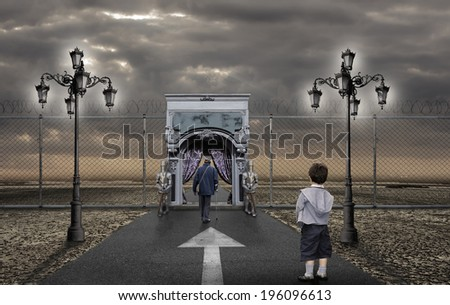 Child looking the old man going to the afterlife - stock photo
