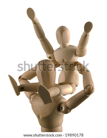 Child mannequin happy on shoulders of adult mannequin - stock photo