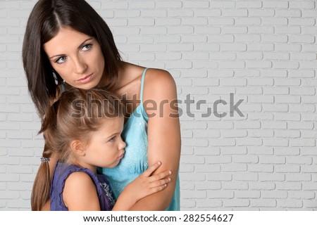 Child, Mother, Sadness. - stock photo