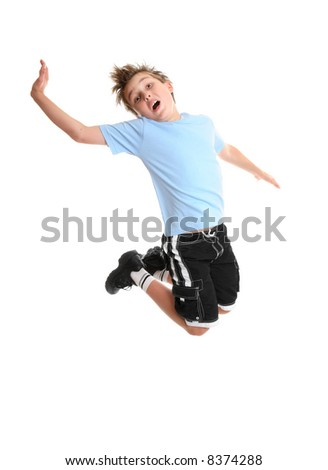 Child moving and grooving in mid air. - stock photo