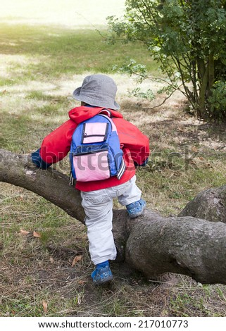 Child on nature walk climbing over a tree trunk, back view. - stock photo