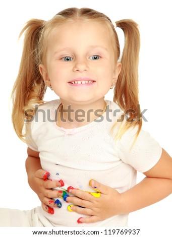 Child painting - stock photo