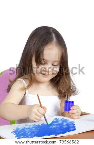 child painting colors - stock photo