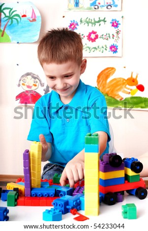 Child play construction set in play room. - stock photo