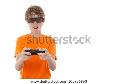child playing game with video gamer glasses. - stock photo