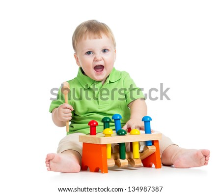 child playing toy isolated on white background - stock photo