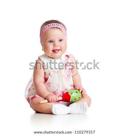 child playing with musical toy - stock photo